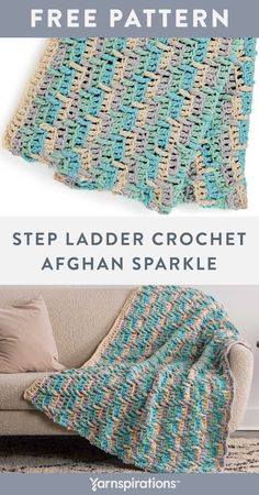 Free Step Ladder Crochet Afghan Sparkle pattern using Bernat Blanket Sparkle Yarn. Show off this wonderful crochet afghan featuring a fascinating graphic design and texture. Long double treble stitches worked into rows below, create ladder-like dips of creamy colors on this simple striped afghan. #Yarnspirations #FreeCrochetPattern #CrochetAfghan #CrochetThrow #CrochetBlanket #DoubleTrebleStitch #BernatYarn #BernatBlanketSparkle Knit Or Crochet, Crochet Hooks, Crochet Blankets, Afghan Crochet Patterns, Baby Patterns, Bernat Yarn, Ladder, Dips, Stitches