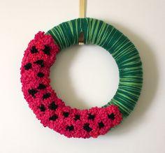 Watermelon Wreath, Summer Wreath, Pink and Green Yarn Felt Wreath, 14 inch size