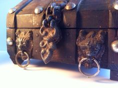 Rustic old wooden treasure chest jewelry box - just listed on eBay!
