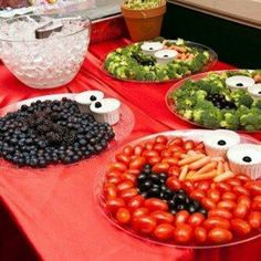Sesame Street Veggie / Fruit trays! This reminds me of the twins' birthday theme! @Amiee Conner