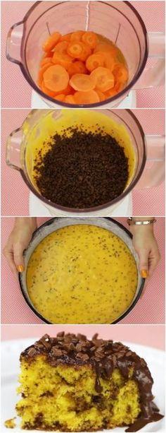 Bolo de Cenoura Formigueiro de 40 minutos #bolodecenoura #chocolate #doce #doces #sobremesa #sobremesas