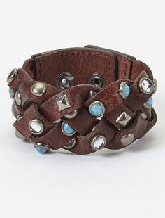 Turquoise & Rhinestone Studded Leather Bracelet