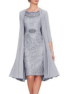 Elegant Knee Length Mother of the Bride Dress Chiffon Jacket Wedding Guest Gown Floryday Vestidos, Dresses For Sale, Dresses For Work, Dresses Online, Wedding Guest Gowns, Wedding Dress, Wedding Veil, Lace Wedding, Wedding Venues