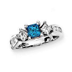 1.5 Carat Total Weight Blue Diamond Engagement Ring