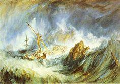 'A Storm (Schiffbruch)', wasserfarbe von William Turner (1789-1862, United Kingdom)