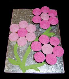 3 pink flowers made from cupcakes by Simply Sweets, via Flickr
