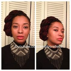Hair by yours truly #naturalhair #makeup #fashionaccessories #bibnecklace #marleyhair #marleytwist #teamnatural #naturalistas #naturalcommunity #fashionlovers - @simplycre8eve- #webstagram