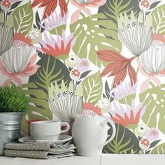 RoomMates Retro Tropical Leaves Peel and Stick Wallpaper (Covers 28.18 sq. ft.), green/ red