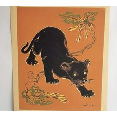 Vintage Serigraph Print, Hemia Young Black Panther, Hemia Calpini,... (€32) ❤ liked on Polyvore featuring home, home decor, wall art, floral wall art, leaf wall art, photo wall art, framed wall art and paper wall art