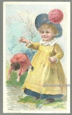 Victorian Trade Card for White Sewing Machine with Little Girl and Her Doll