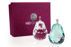 Crystal Pear Paper Weight Personalized Ornaments Green & White Home Decors