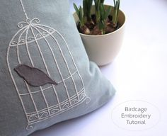 Sweet birdcage embroidery at @hoogally