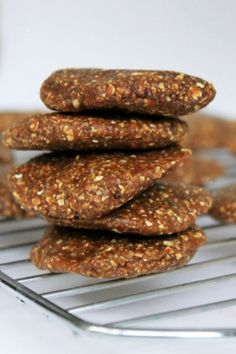 raw gingerbread cookies: blackstrap molasses, dates, nuts, oats, ginger, cinnamon, nutmeg, (optional) candied ginger