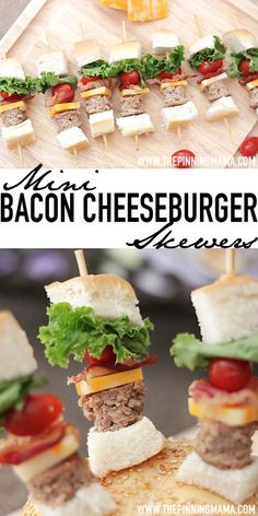 So fun for game day!  Mini Bacon Cheeseburger Skewers!  See how to make prep for these super easy here.