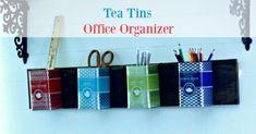 Repurposed Tea Tins Office Organizer (Knick Of Time) Rustic Desk, Rustic Office, Rustic Shelves, Rustic Furniture, Rustic Wood, Rustic Cabinets, Kitchen Rustic, Rustic Cake, Rustic Industrial