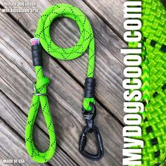 Lime Green Ultimate Dog Leash with Adjustable Grip. Handmade in USA for the Big Dogs. Rope Dog Leash, Climbing Rope, Working Dogs, Big Dogs, Lime, Usa, Pets, Green, How To Make