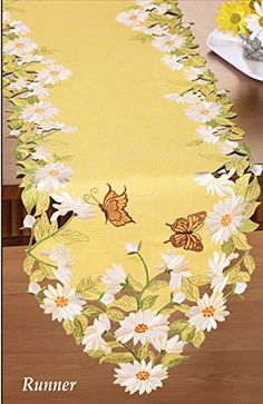 Spring Decor and Tabletop Accent Collections Etc Embroidered Lovely Tulips and Daisies Cutout Table Linens Square