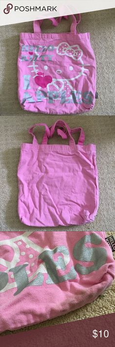 """hello kitty tote bag pink hello kitty """"i love apples"""" tote bag (a little dirty on the bottom but should be able to clean) Hello Kitty Bags Totes"""