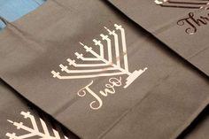 8 Days of Hanukkah Gift Bags - Set of 8   Holiday Gift Wrap   Chanukah Kraft Bags   Hanukkah Wrapping