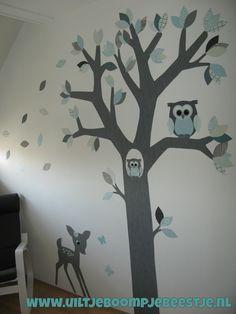 behangboom mintgroen-grijs tinten  uiltje boompje beestje behangboom met kleuren naar wens
