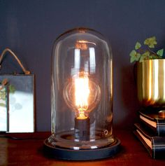 Made With Love Designs Ltd Vintage Desk Table Cloche Glass Bell Lamp