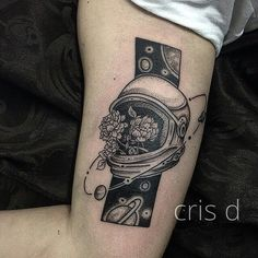 My own tattoo :D space themed, astronaut with flowers