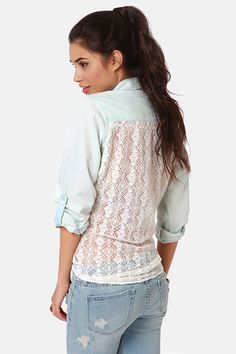 Check it out from Lulus.com! The Lira Darling Lace Back Button-Up Top mixes darling and daring with a sexy backless peekaboo. Bleached chambray offers a sun-kissed, light wash, with an ivory crocheted lace panel in back that's sheer from the yoke to rounded, extra-long hemline. Long, button-cuff sleeves have tabs for a rolled up option, while a classic button-up front has twin breast pockets with pleated accents and buttoned flaps. Unlined. Model is wearing a size small. Shell 1: 100%…