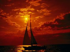 Lake Michigan Sunset. Photograph by Todd Gipstein. An orange-tinged sunset provides the backdrop for a sailboat on Lake Michigan. This 321-mile-long (517-kilometer-long) body of water is the only Great Lake located entirely within the United States.