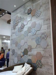 Patchwork em formato hexagonal, da Ceusa revestimentos.