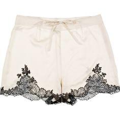 Carine Gilson Egérie silk-satin shorts (555 BRL) ❤ liked on Polyvore featuring intimates, panties, shorts, lingerie, underwear, bottoms, cream, transparent lingerie, high waisted lingerie and carine gilson