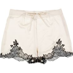 Carine Gilson Egérie silk-satin shorts (575 BRL) ❤ liked on Polyvore featuring intimates, panties, shorts, lingerie, underwear, bottoms, cream, underwear lingerie, high-waisted lingerie and sheer lingerie