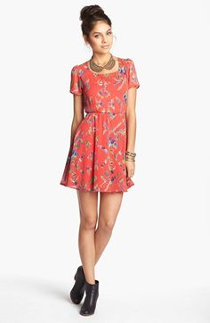 dee elle Back Cutout Skater Dress (Juniors) available at #Nordstrom