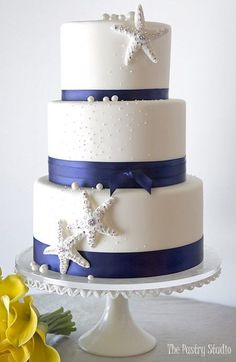 The Pastry Studio offers luxury custom wedding cakes in Daytona Florida. For more information on our cakes contact us today to schedule an appointment. Metallic Wedding Cakes, Painted Wedding Cake, Floral Wedding Cakes, White Wedding Cakes, Starfish Wedding Cake, Lace Wedding, Dream Wedding, Wedding Dresses, Fondant Wedding Cakes
