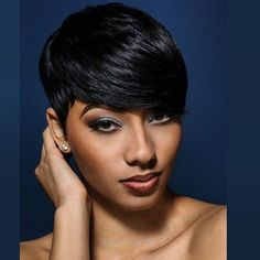Human Hair Capless Wigs Human Hair Wavy / Natural Wave Pixie Cut / Short Hairstyles 2019 / With Bangs Halle Berry Hairstyles African American Wig / For Black Women Short Wig Womens Short Side Bangs, Pixie Cut With Bangs, Swoop Bangs, Pixie Cuts, Short Straight Hair, Short Hair Cuts, Short Hair Styles, Short Pixie, Short Bobs