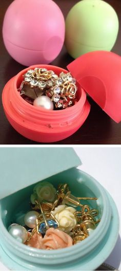 Reuse an empty EOS lip balm container to pack rings, necklaces or small earrings in when traveling. It could also be used to hold any medication you might want to take with you on a short trip.