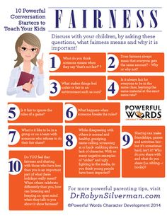 10 Powerful Conversation Starters to Teach Your Kids Fairness #powerfulwords #drrobyn #parenting