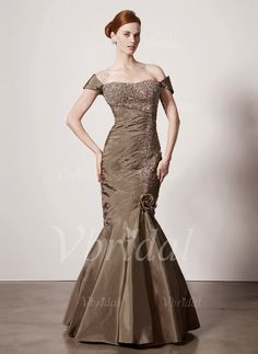 Mother of the Bride Dresses - $180.00 - Trumpet/Mermaid Off-the-Shoulder Floor-Length Taffeta Mother of the Bride Dress With Ruffle Lace Beading (00805007400)