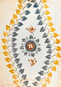 'Bird Nest and Ivy Leaves' by Edward Bawden, 1924. This was one of Bawden's first wallpaper designs, made in linocut but never put into commercial production.