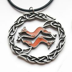 Celtic Fox Pendant in brass or albata with enamel