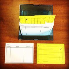Hier seht ihr meinen Karteikasten, der auf dem Pult steht. Jedes Kind hat ein Register mit 2 Karten: eine Karte für anlassbezogene Schülerbeobachtungen, auf der ich schnell Vorfälle und entsprechende Maßnahmen notieren kann und eine Karte für vergessene Hausaufgaben. Hat ein Kind die Hausaufgabe vergessen, wird eine Ecke abgeschnitten. Die Karte kommt aufrecht in die Box, so sehe ich sofort, wer noch was nachholen muss. Nach der 4. Ecke kommt die Karte zur Unterschrift nach Hause 📇📝…