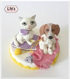 חתול וכלב מבצק סוכר cute gumpaste cat and dog