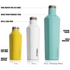 Amazon.com: Corkcicle Canteen - Water Bottle and Thermos - Keeps Beverages Cold for Over 25, Hot for Over 12 Hours - Triple Insulated with Shatterproof Stainless Steel Construction - Ninja Green - 9 oz.: Kitchen & Dining