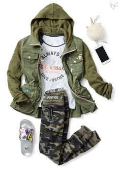Outfit her for unique expression: camo-cool with a touch of emoji magic.