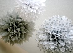 Your Silver Lining ... 3 tissue paper poms // wedding  // diy // silver anniversary // graduation // new years eve // party decorations