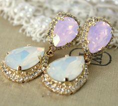Crystal pink opal earring - 14k plated gold  earrings real swarovski opal and pink opal rhinestones . on Etsy, $85.00