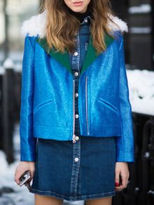 Abrigo cremallera corto -azul