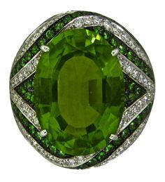 Diamond Peridot ,Tsavorite Cocktail Ring by Asprey