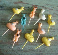 10 Vintage Retro Easter Cake Picks Rabbit Chick Duck Hard Plastic