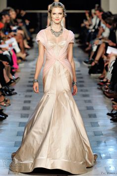 Champagne and pink short sleeve sunburst paneled dress from Zac Posen's Spring 2012 Ready-to-Wear collection.