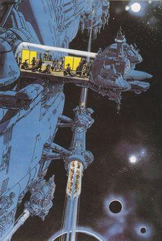 Futuristic, retro future, fiction by Jean Claude Mezieres Cyberpunk, Arte Sci Fi, Sci Fi Art, Fantasy Kunst, Fantasy Art, Sci Fi Kunst, Science Fiction Kunst, Arte Robot, Robot Art